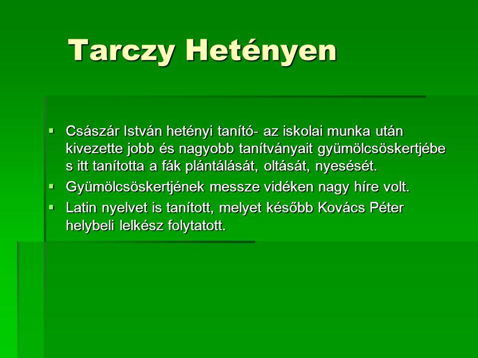 Tarczy Hetényen Tarczy Hetényen  Császár István hetényi tanító- az iskolai munka után kivezette jobb és nagyobb tanítványait gyümölcsöskertjébe s itt