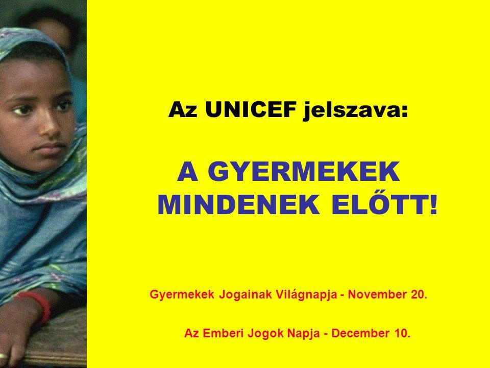 Az UNICEF jelszava: A GYERMEKEK MINDENEK ELŐTT! Gyermekek Jogainak Világnapja - November 20. Az Emberi Jogok Napja - December 10.