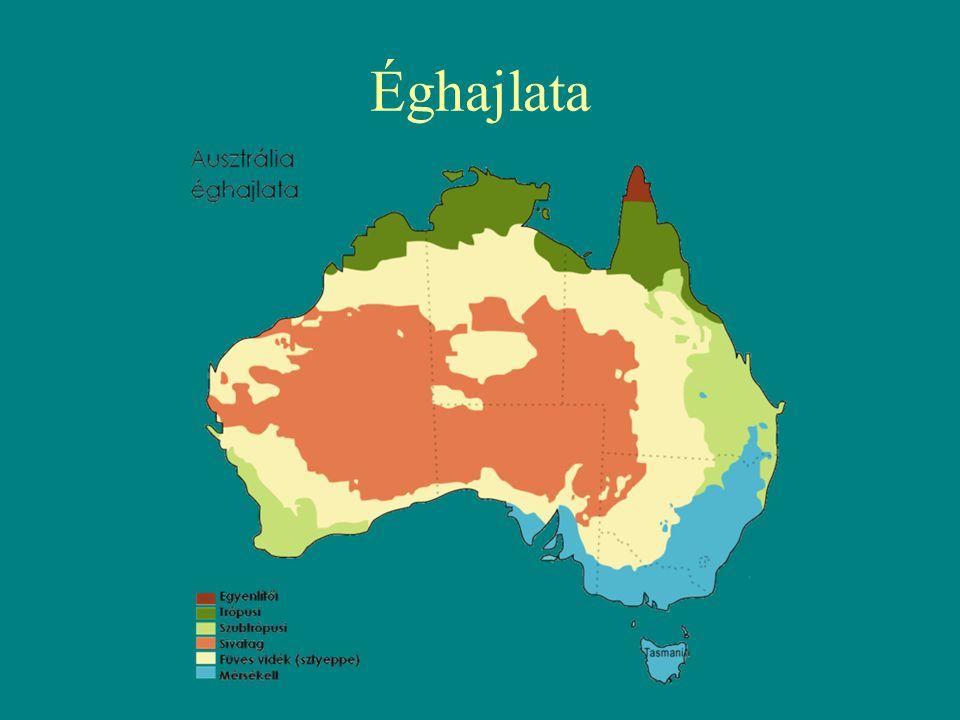 Domborzata középen: Belső-ausztráliai-medence nyugaton: Nyugat-ausztráliai-fennsík A Nyugat-ausztráliai-pajzs átlagosan 300-500 m magas és a kontinens 60%-át foglalja el.
