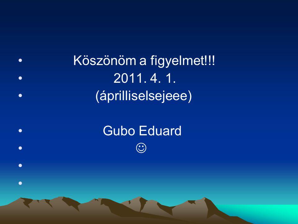 Köszönöm a figyelmet!!! 2011. 4. 1. (áprilliselsejeee) Gubo Eduard