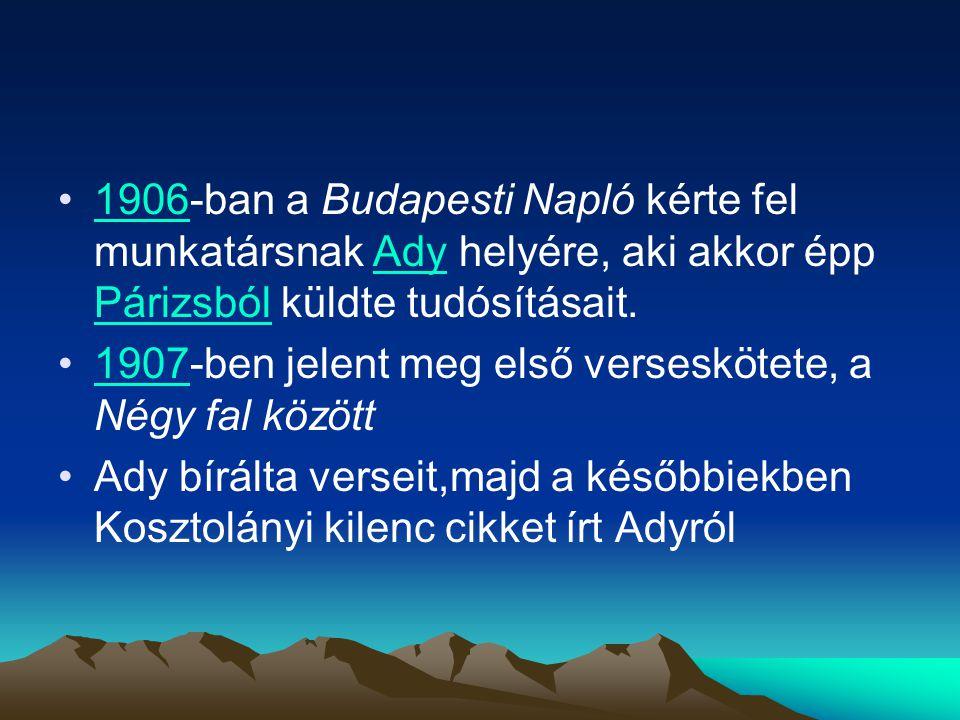 1906-ban a Budapesti Napló kérte fel munkatársnak Ady helyére, aki akkor épp Párizsból küldte tudósításait.1906Ady Párizsból 1907-ben jelent meg első