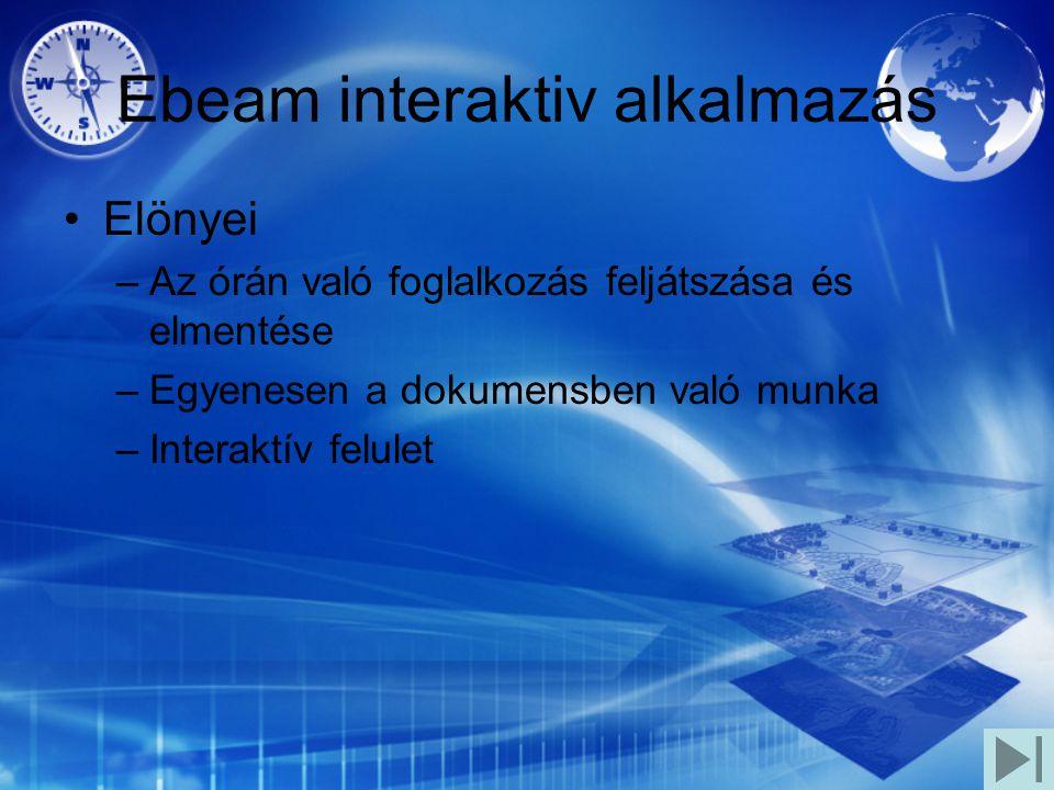 Ebeam interaktiv alkalmazás Elönyei –Az órán való foglalkozás feljátszása és elmentése –Egyenesen a dokumensben való munka –Interaktív felulet