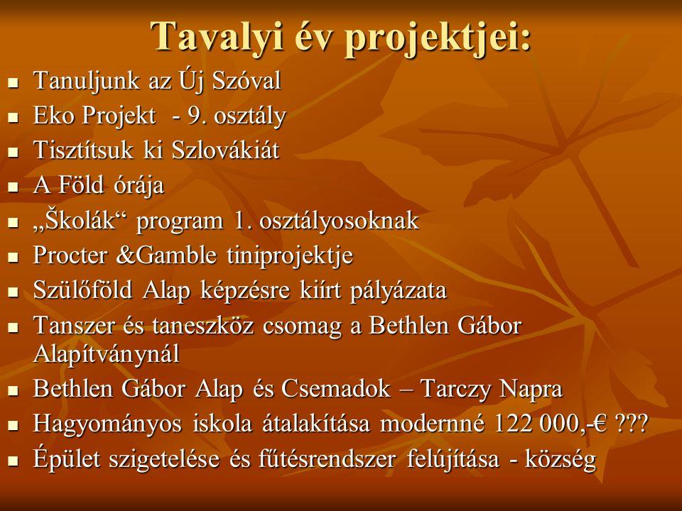 Tavalyi év projektjei: Tanuljunk az Új Szóval Tanuljunk az Új Szóval Eko Projekt - 9. osztály Eko Projekt - 9. osztály Tisztítsuk ki Szlovákiát Tisztí