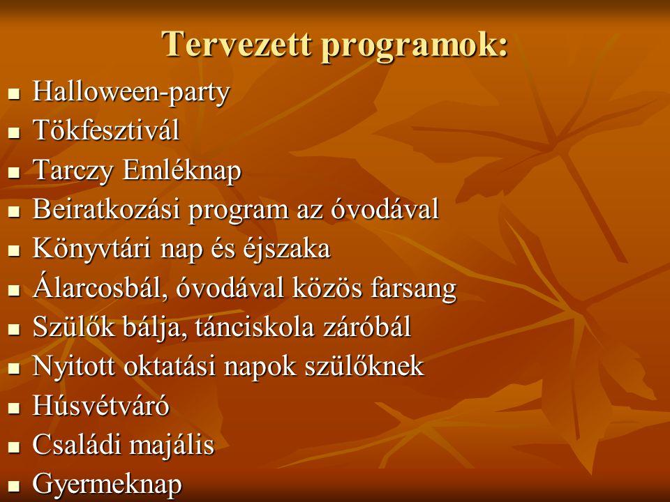 Tervezett programok: Halloween-party Halloween-party Tökfesztivál Tökfesztivál Tarczy Emléknap Tarczy Emléknap Beiratkozási program az óvodával Beirat