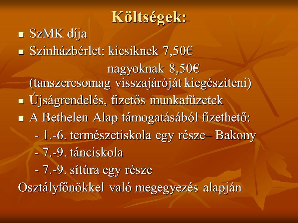 Költségek: SzMK díja SzMK díja Színházbérlet: kicsiknek 7,50€ Színházbérlet: kicsiknek 7,50€ nagyoknak 8,50€ (tanszercsomag visszajáróját kiegészíteni