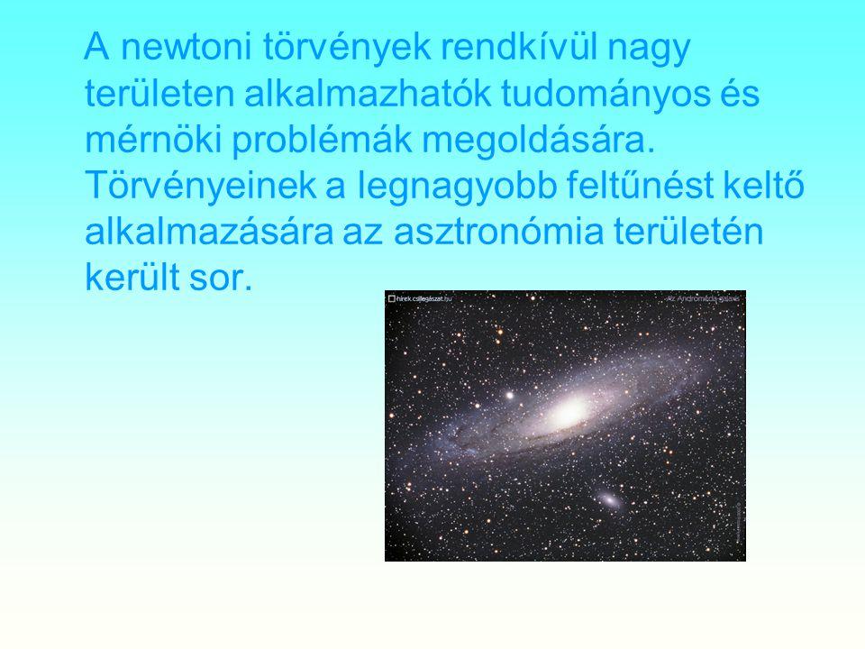A newtoni törvények rendkívül nagy területen alkalmazhatók tudományos és mérnöki problémák megoldására. Törvényeinek a legnagyobb feltűnést keltő alka