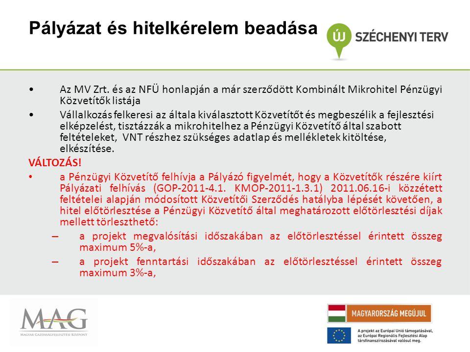 Pályázat és hitelkérelem beadása Az MV Zrt.