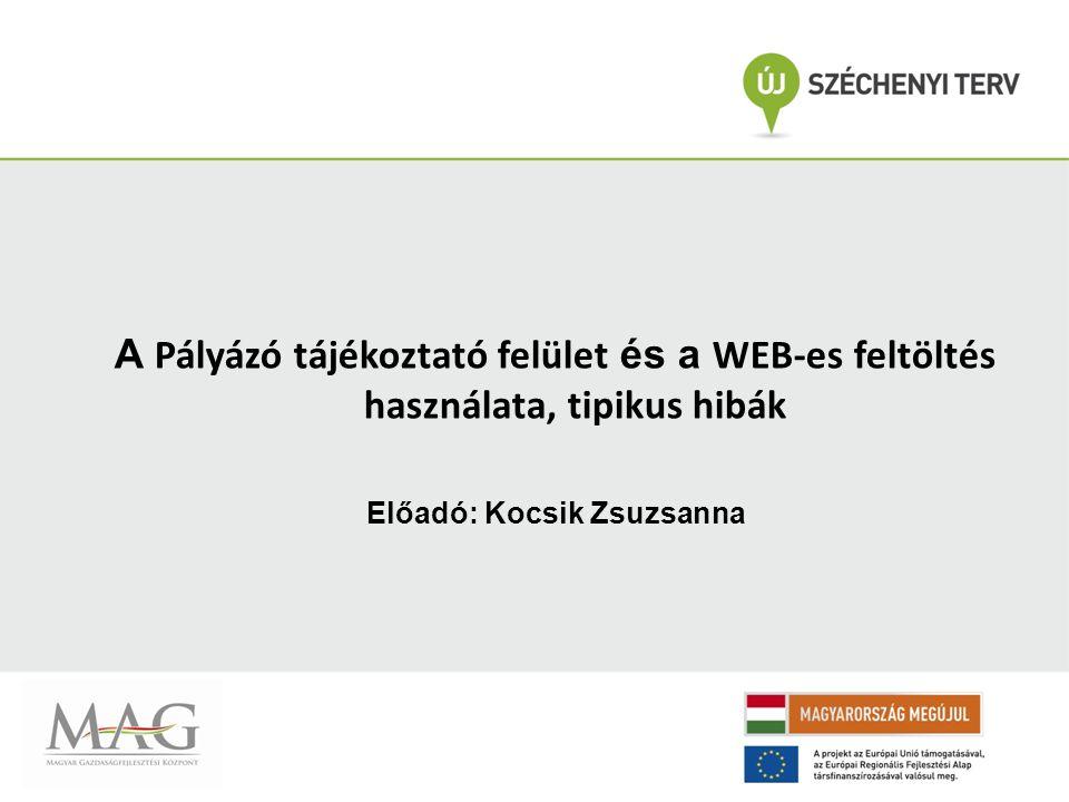 A Pályázó tájékoztató felület és a WEB-es feltöltés használata, tipikus hibák Előadó: Kocsik Zsuzsanna