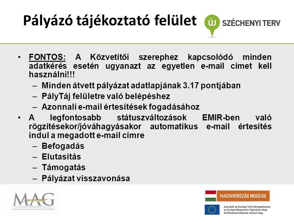 Pályázó tájékoztató felület FONTOS: A Közvetítői szerephez kapcsolódó minden adatkérés esetén ugyanazt az egyetlen e-mail címet kell használni!!.