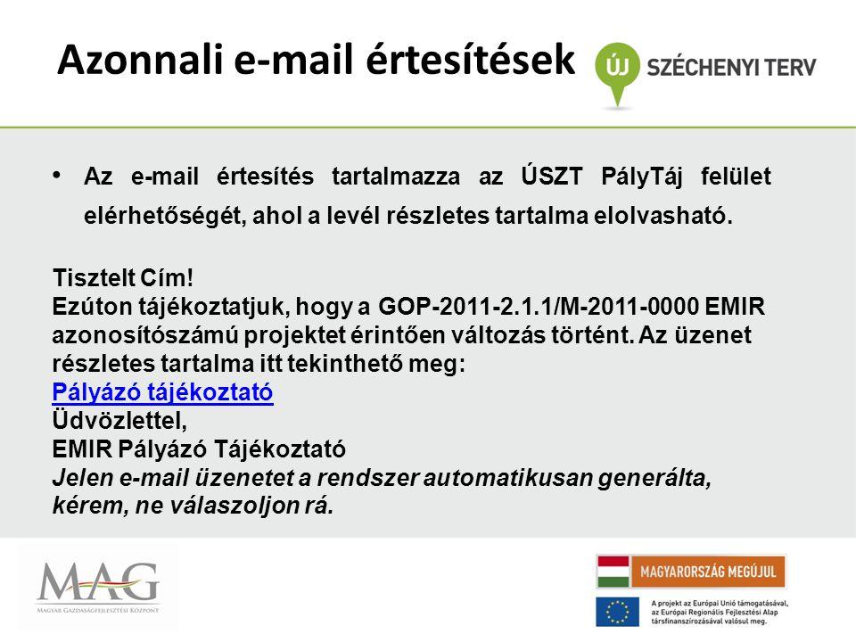 Pályázó Tájékoztató Felület Az alintézkedést kiválasztva (GOP v.