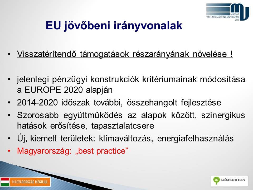 Visszatérítendő támogatások részarányának növelése ! jelenlegi pénzügyi konstrukciók kritériumainak módosítása a EUROPE 2020 alapján 2014-2020 időszak