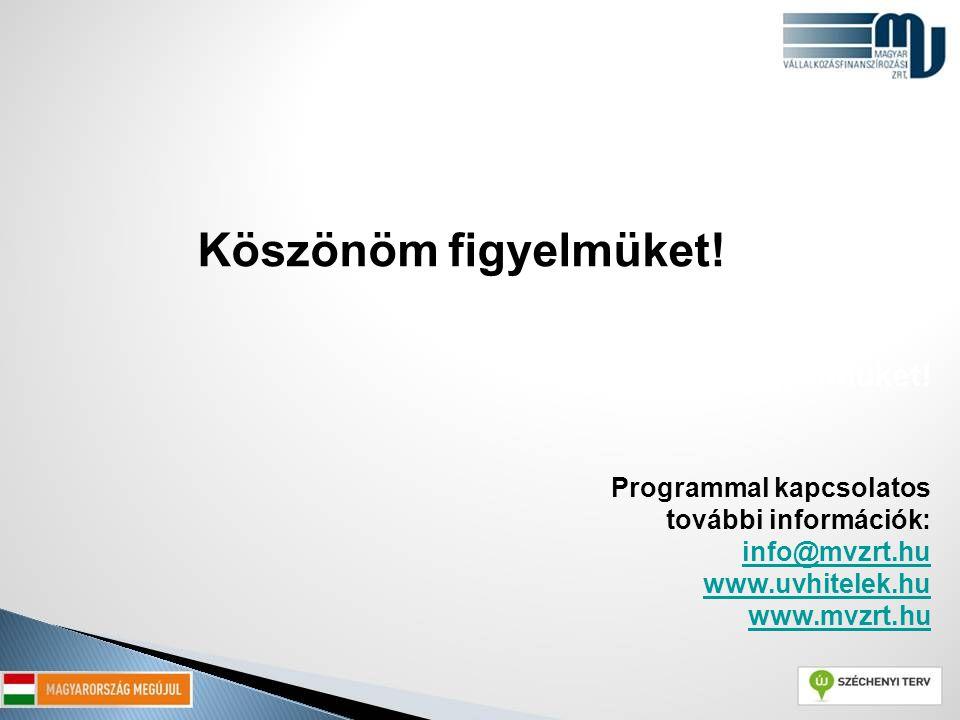 Köszönöm figyelmüket! Programmal kapcsolatos további információk: info@mvzrt.hu www.uvhitelek.hu www.mvzrt.hu info@mvzrt.hu www.uvhitelek.hu www.mvzrt