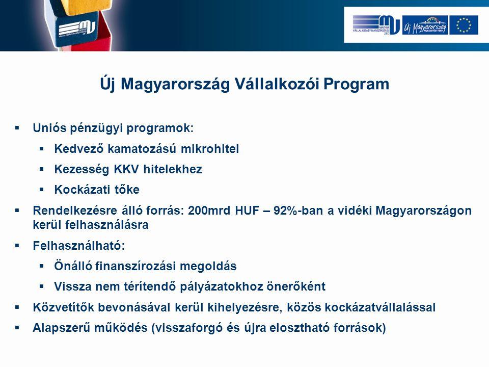 Új Magyarország Vállalkozói Program  Uniós pénzügyi programok:  Kedvező kamatozású mikrohitel  Kezesség KKV hitelekhez  Kockázati tőke  Rendelkezésre álló forrás: 200mrd HUF – 92%-ban a vidéki Magyarországon kerül felhasználásra  Felhasználható:  Önálló finanszírozási megoldás  Vissza nem térítendő pályázatokhoz önerőként  Közvetítők bevonásával kerül kihelyezésre, közös kockázatvállalással  Alapszerű működés (visszaforgó és újra elosztható források)