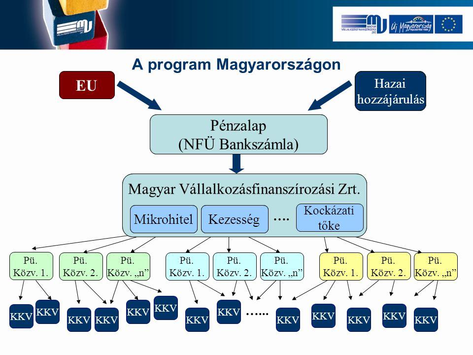 """A program Magyarországon JEREMIE Alap EU Tagállami hozzájárulás HOLDINGALAP KEZELŐ Pénzügyi program I. Pénzügyi program II. Pénzügyi Program """"n"""" …. Pü"""