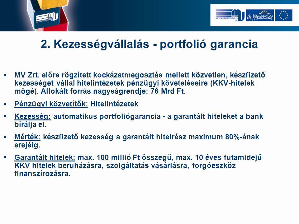 2. Kezességvállalás - portfolió garancia  MV Zrt. előre rögzített kockázatmegosztás mellett közvetlen, készfizető kezességet vállal hitelintézetek pé