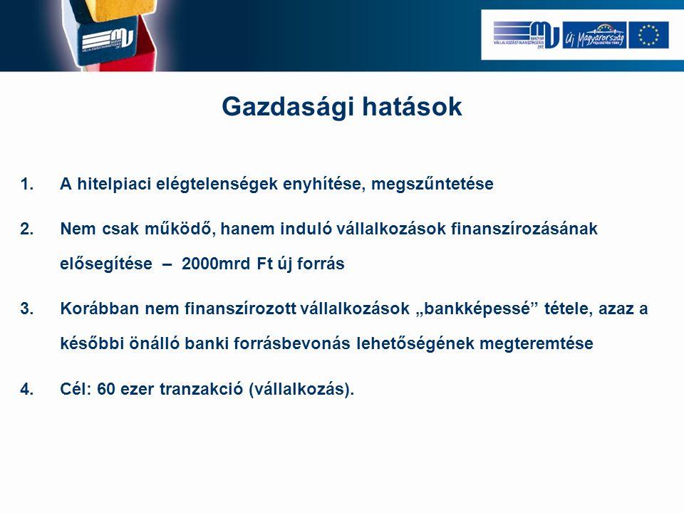 Gazdasági hatások 1.A hitelpiaci elégtelenségek enyhítése, megszűntetése 2.Nem csak működő, hanem induló vállalkozások finanszírozásának elősegítése –