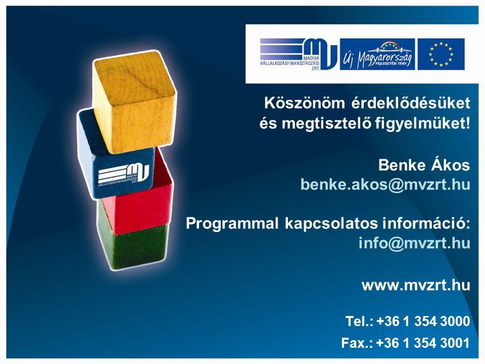 Köszönöm érdeklődésüket és megtisztelő figyelmüket! Benke Ákos benke.akos@mvzrt.hu Programmal kapcsolatos információ: info@mvzrt.hu www.mvzrt.hu Tel.: