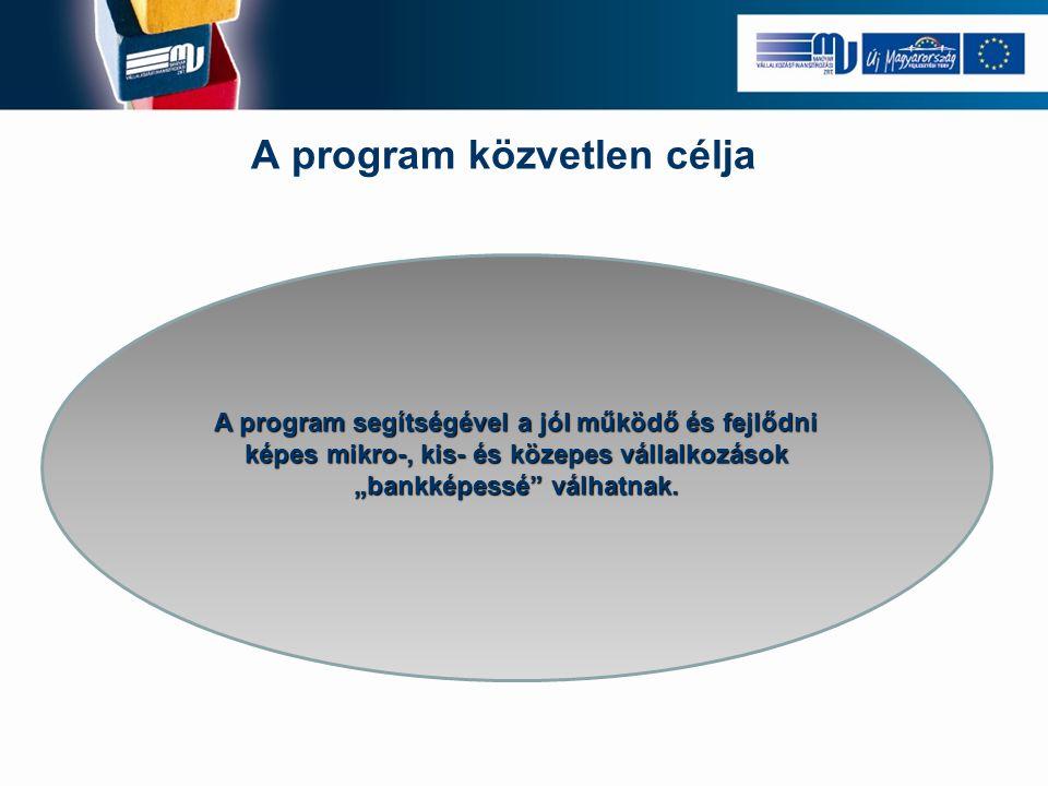 """A program közvetlen célja A program segítségével a jól működő és fejlődni képes mikro-, kis- és közepes vállalkozások """"bankképessé válhatnak."""