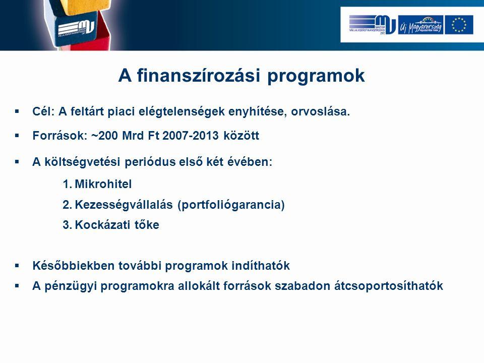 A finanszírozási programok  Cél: A feltárt piaci elégtelenségek enyhítése, orvoslása.  Források: ~200 Mrd Ft 2007-2013 között  A költségvetési peri