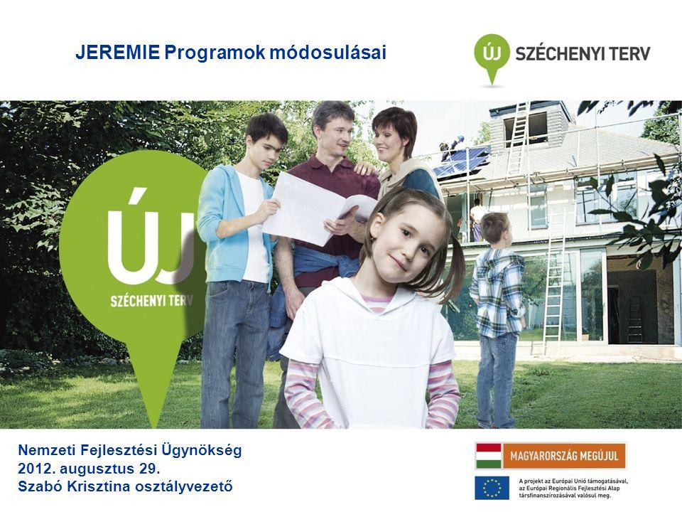 JEREMIE Programok módosulásai Nemzeti Fejlesztési Ügynökség 2012.