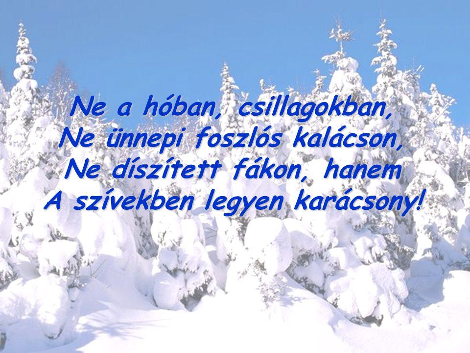 Ne a hóban, csillagokban, Ne ünnepi foszlós kalácson, Ne díszített fákon, hanem A szívekben legyen karácsony!