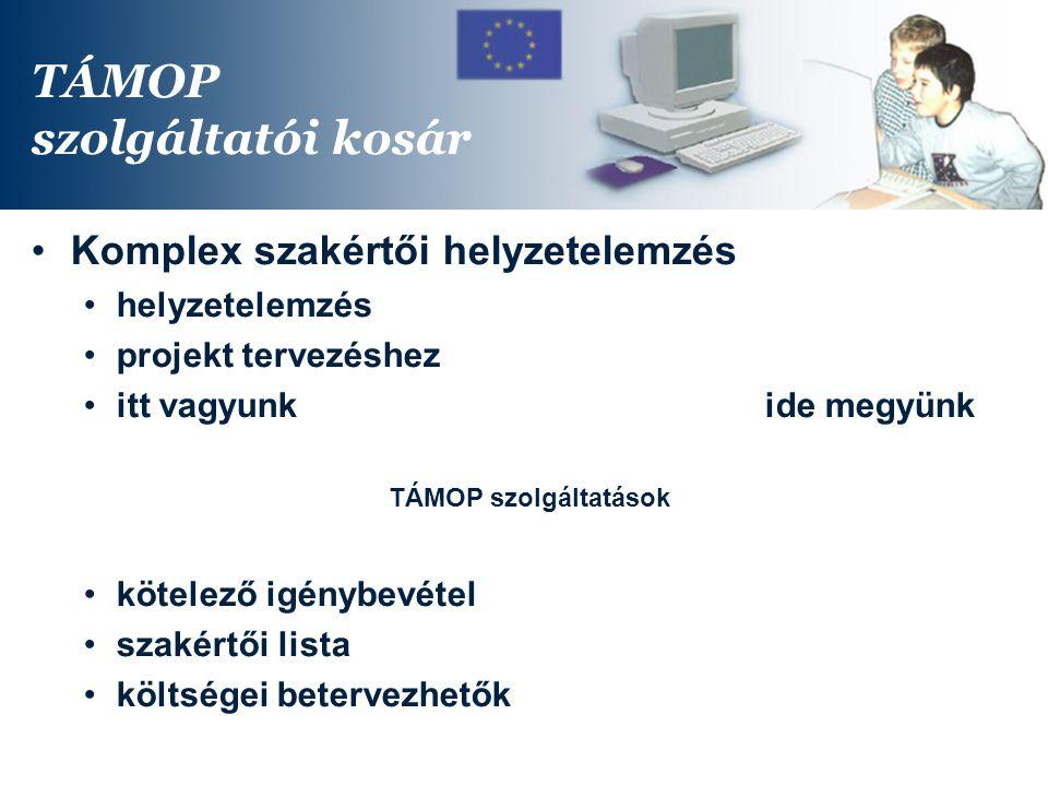 TÁMOP szolgáltatói kosár Komplex szakértői helyzetelemzés helyzetelemzés projekt tervezéshez itt vagyunkide megyünk TÁMOP szolgáltatások kötelező igénybevétel szakértői lista költségei betervezhetők