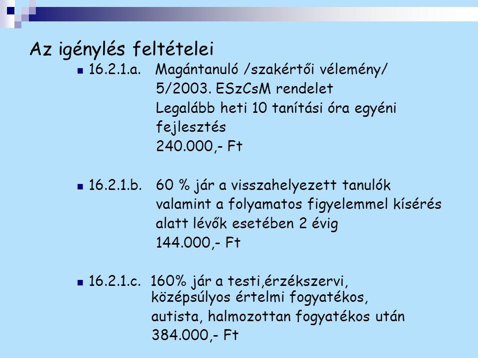 Az igénylés feltételei 16.2.1.a. Magántanuló /szakértői vélemény/ 5/2003. ESzCsM rendelet Legalább heti 10 tanítási óra egyéni fejlesztés 240.000,- Ft