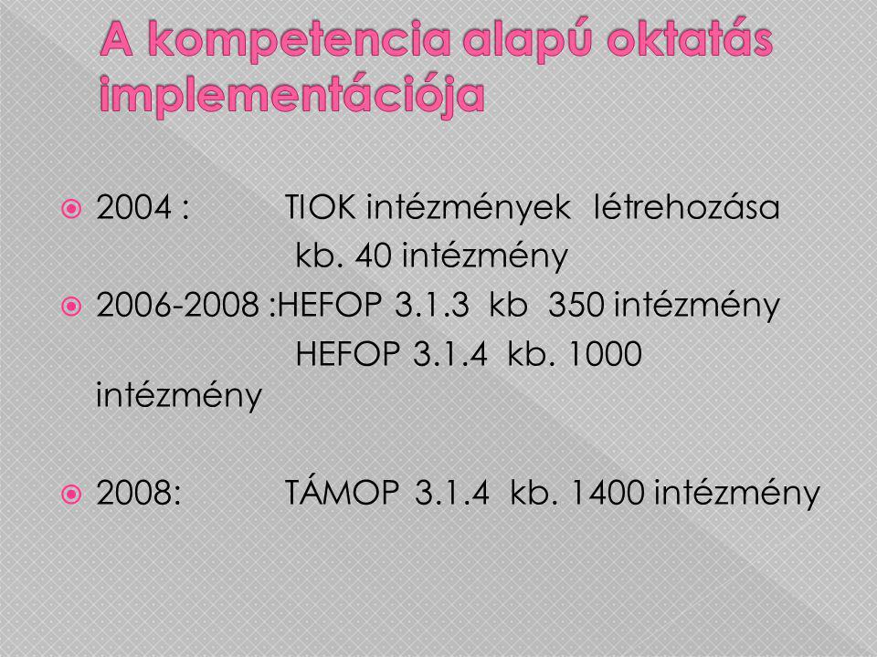 2004 : TIOK intézmények létrehozása kb. 40 intézmény  2006-2008 :HEFOP 3.1.3 kb 350 intézmény HEFOP 3.1.4 kb. 1000 intézmény  2008: TÁMOP 3.1.4 kb