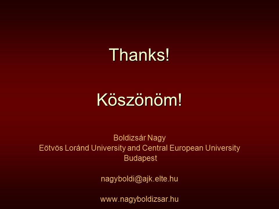 Thanks!Köszönöm! Boldizsár Nagy Eötvös Loránd University and Central European University Budapest nagyboldi@ajk.elte.hu www.nagyboldizsar.hu