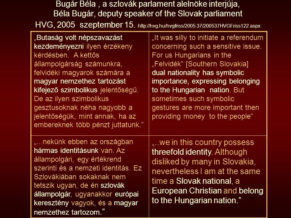 Bugár Béla, a szlovák parlament alelnöke interjúja, Béla Bugár, deputy speaker of the Slovak parliament HVG, 2005 szeptember 15. http://hvg.hu/hvgfris