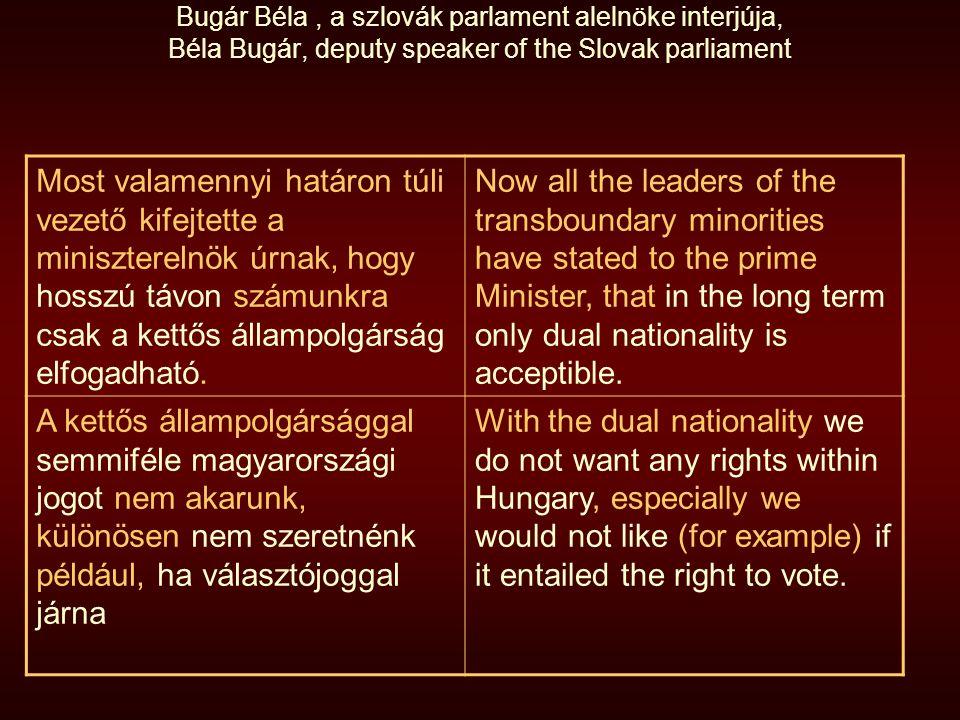 Bugár Béla, a szlovák parlament alelnöke interjúja, Béla Bugár, deputy speaker of the Slovak parliament Most valamennyi határon túli vezető kifejtette