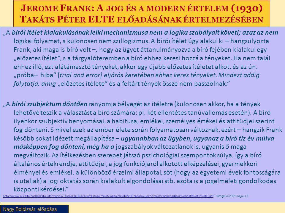 """Nagy Boldizsár előadása J EROME F RANK : A JOG ÉS A MODERN ÉRTELEM (1930) T AKÁTS P ÉTER ELTE ELŐADÁSÁNAK ÉRTELMEZÉSÉBEN """"A bírói ítélet kialakulásána"""