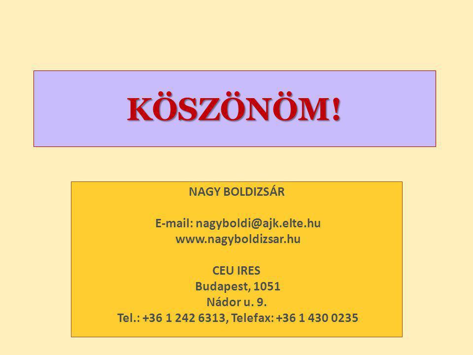 KÖSZÖNÖM! NAGY BOLDIZSÁR E-mail: nagyboldi@ajk.elte.hu www.nagyboldizsar.hu CEU IRES Budapest, 1051 Nádor u. 9. Tel.: +36 1 242 6313, Telefax: +36 1 4