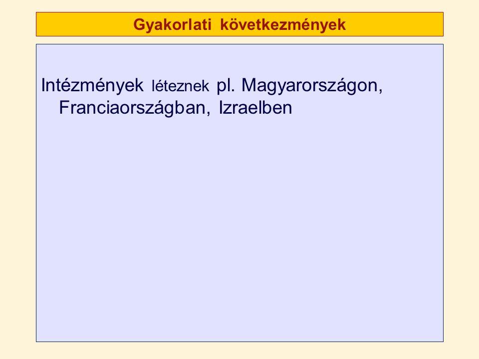 Gyakorlati következmények Intézmények léteznek pl. Magyarországon, Franciaországban, Izraelben