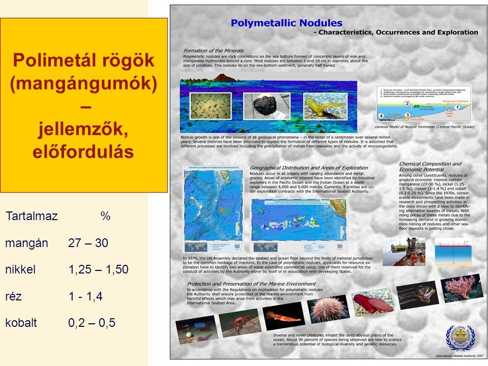 Polimetál rögök (mangángumók) – jellemzők, előfordulás Tartalmaz% mangán27 – 30 nikkel1,25 – 1,50 réz1 - 1,4 kobalt0,2 – 0,5