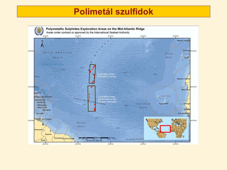 Kobaltban gazdag vas- és mangánhéj 400-4000 méter mélységben Kb 25 cm vastag réteg, az óceánfenék kevesebb, mint 2%-án (ez is 6,35 millió km 2) 1000 miillió tonna kobaltot 1 tonna kobalt ára: kb 27 000 USD 2013-ban Source: http://www.isa.org.jm/files/documents/EN/Brochures/ENG9.pdfhttp://www.isa.org.jm/files/documents/EN/Brochures/ENG9.pdf