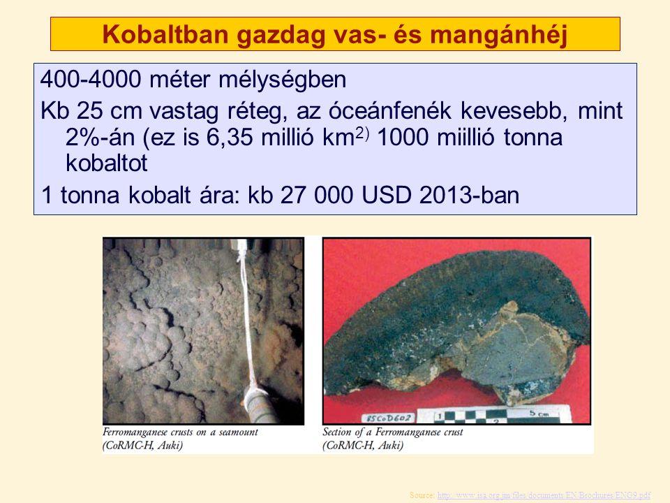 Kobaltban gazdag vas- és mangánhéj 400-4000 méter mélységben Kb 25 cm vastag réteg, az óceánfenék kevesebb, mint 2%-án (ez is 6,35 millió km 2) 1000 m