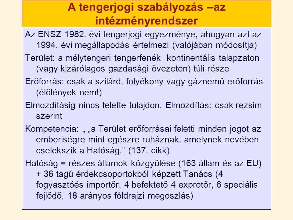 A tengerjogi szabályozás Eredeti rendszer (1982) párhuzamos bányászat – az államok szponzorálta vállalatok és a a Vállalat (the enterprize) a nemzetközi közösség nevében bányászó entitás 1994 megállapodás a XI rész alkalmazásáról: a Vállalatot nem állítják fel.