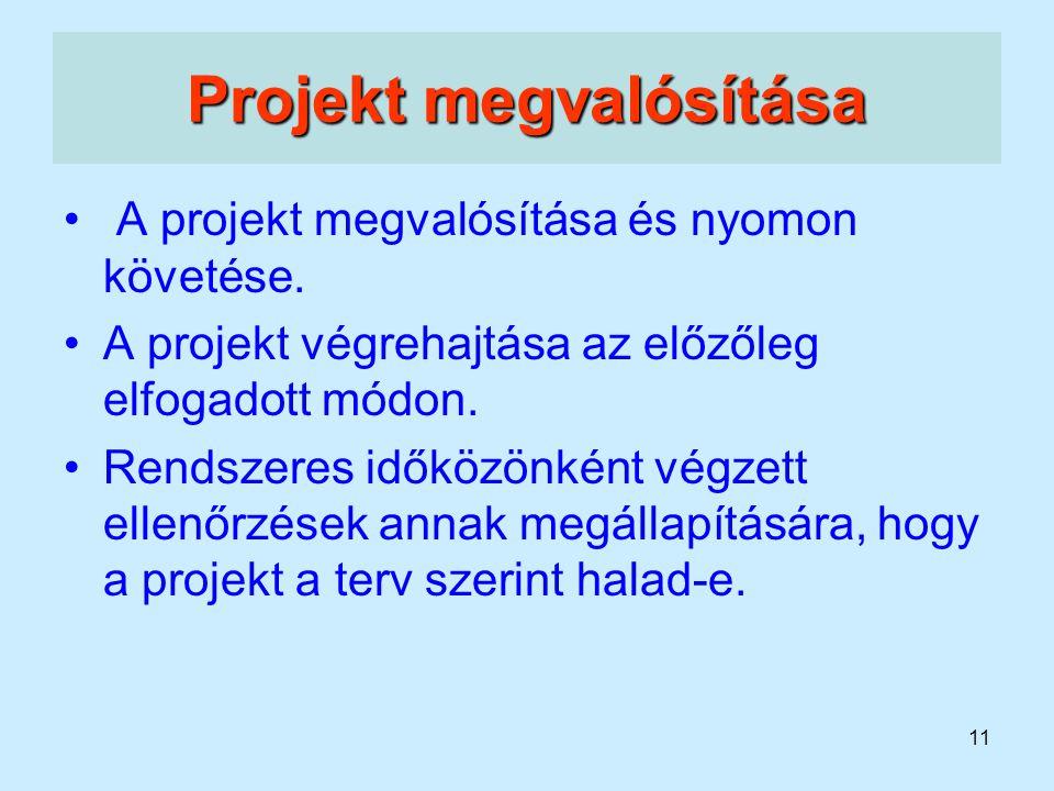 11 Projekt megvalósítása A projekt megvalósítása és nyomon követése. A projekt végrehajtása az előzőleg elfogadott módon. Rendszeres időközönként végz