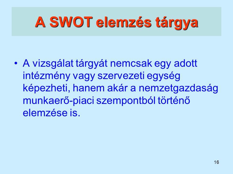16 A SWOT elemzés tárgya A vizsgálat tárgyát nemcsak egy adott intézmény vagy szervezeti egység képezheti, hanem akár a nemzetgazdaság munkaerő-piaci