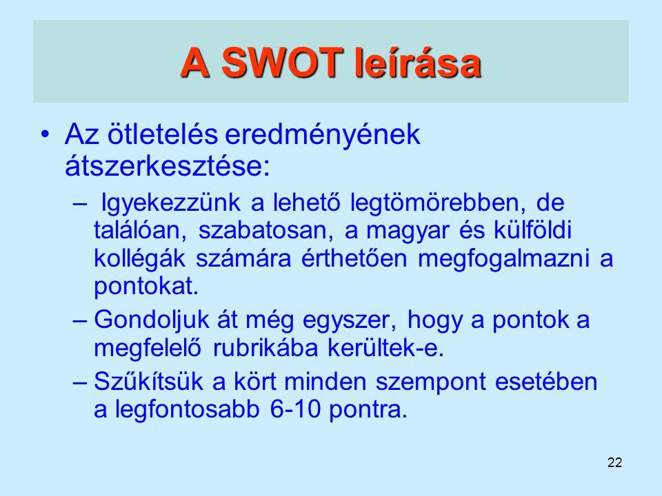 22 A SWOT leírása Az ötletelés eredményének átszerkesztése: – Igyekezzünk a lehető legtömörebben, de találóan, szabatosan, a magyar és külföldi kollég
