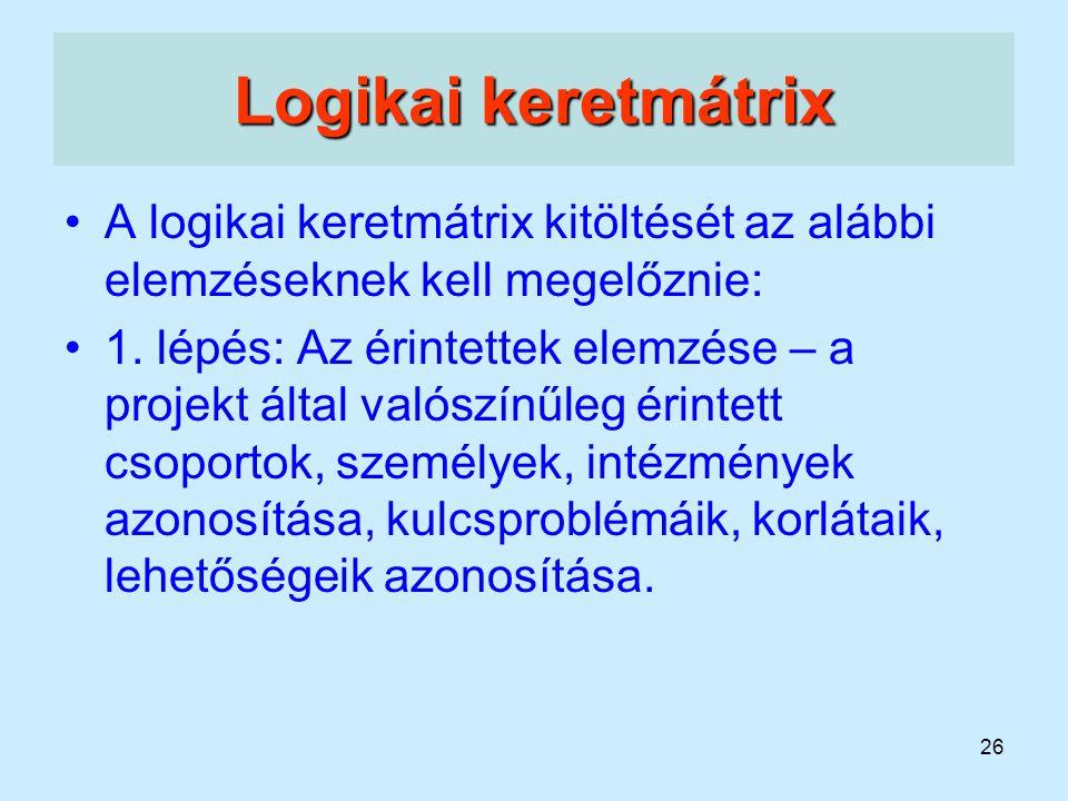 26 Logikai keretmátrix A logikai keretmátrix kitöltését az alábbi elemzéseknek kell megelőznie: 1. lépés: Az érintettek elemzése – a projekt által val