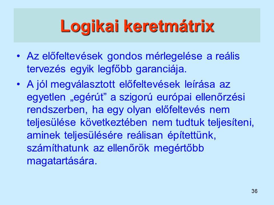 36 Logikai keretmátrix Az előfeltevések gondos mérlegelése a reális tervezés egyik legfőbb garanciája. A jól megválasztott előfeltevések leírása az eg