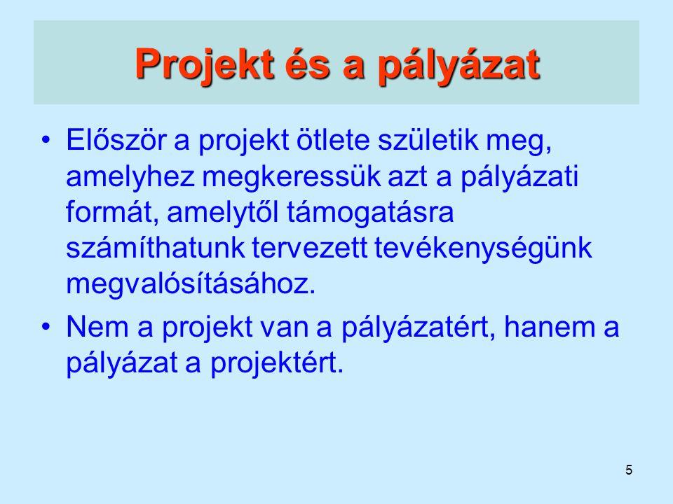 5 Projekt és a pályázat Először a projekt ötlete születik meg, amelyhez megkeressük azt a pályázati formát, amelytől támogatásra számíthatunk tervezet