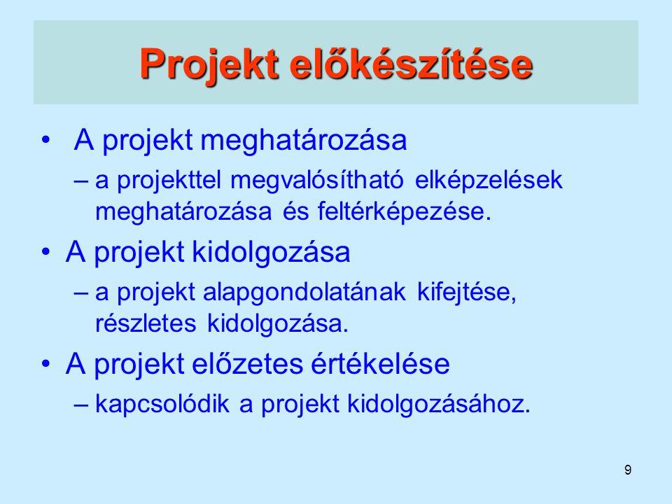 9 Projekt előkészítése A projekt meghatározása –a projekttel megvalósítható elképzelések meghatározása és feltérképezése. A projekt kidolgozása –a pro