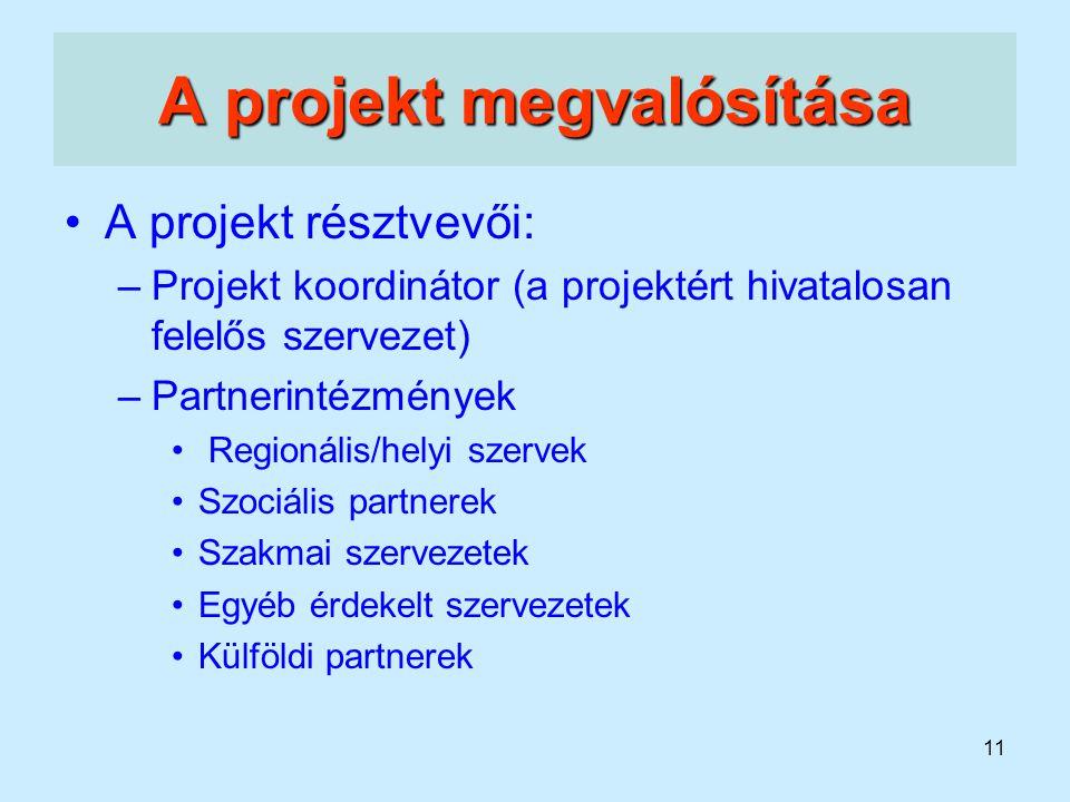 11 A projekt megvalósítása A projekt résztvevői: –Projekt koordinátor (a projektért hivatalosan felelős szervezet) –Partnerintézmények Regionális/hely