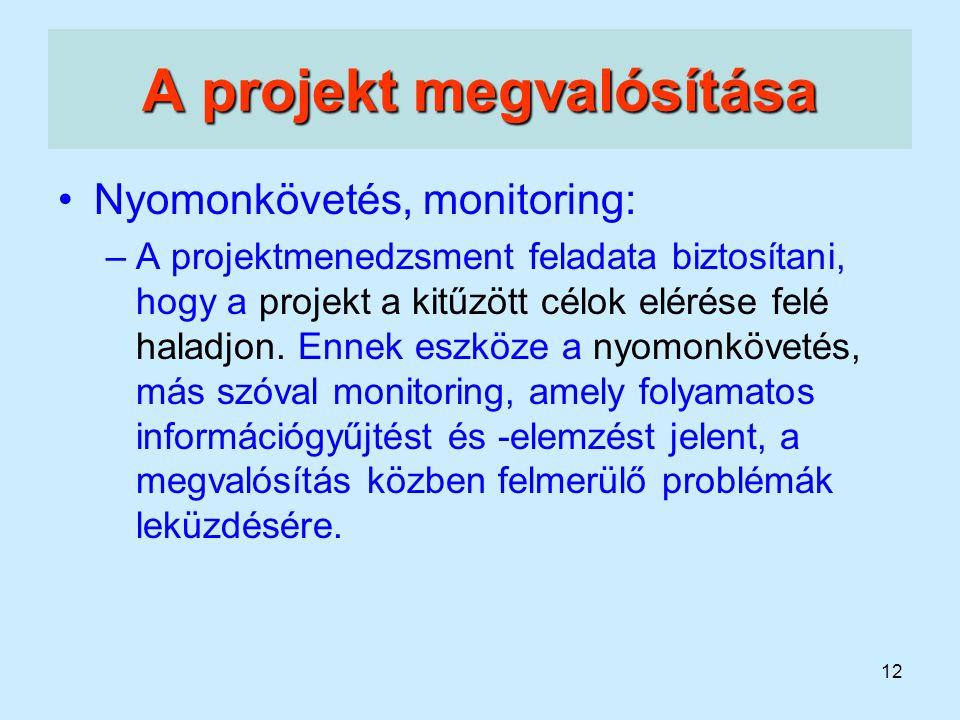 12 A projekt megvalósítása Nyomonkövetés, monitoring: –A projektmenedzsment feladata biztosítani, hogy a projekt a kitűzött célok elérése felé haladjo