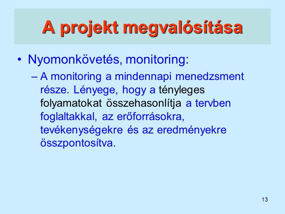 13 A projekt megvalósítása Nyomonkövetés, monitoring: –A monitoring a mindennapi menedzsment része. Lényege, hogy a tényleges folyamatokat összehasonl