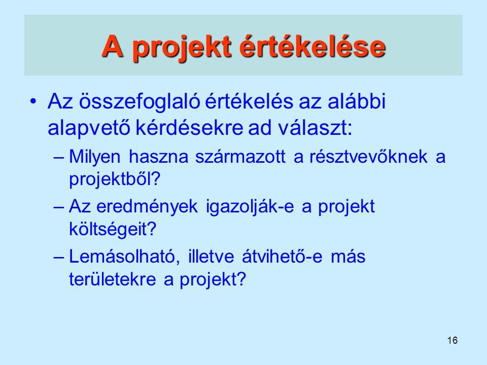 16 A projekt értékelése Az összefoglaló értékelés az alábbi alapvető kérdésekre ad választ: –Milyen haszna származott a résztvevőknek a projektből? –A