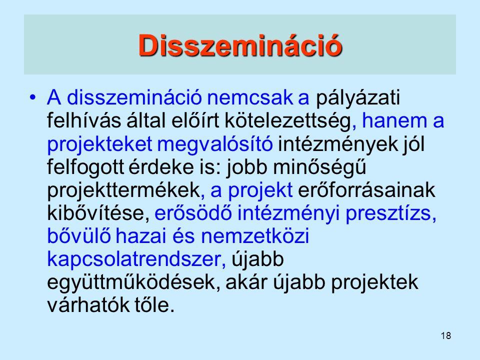 18 Disszemináció A disszemináció nemcsak a pályázati felhívás által előírt kötelezettség, hanem a projekteket megvalósító intézmények jól felfogott ér